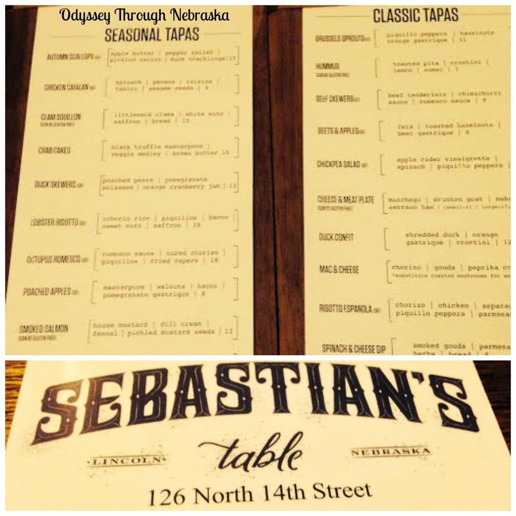 Sebastian's Menu