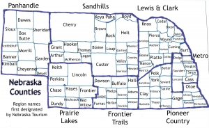 Labeld Nebraska Regions and Counties map