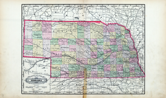 Nebraska, 1889, Nebraska State Railroad, County Map