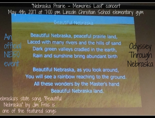 Nebraska Prairie – Memories Last: An Official NE 150 event at Lincoln Christian tonight