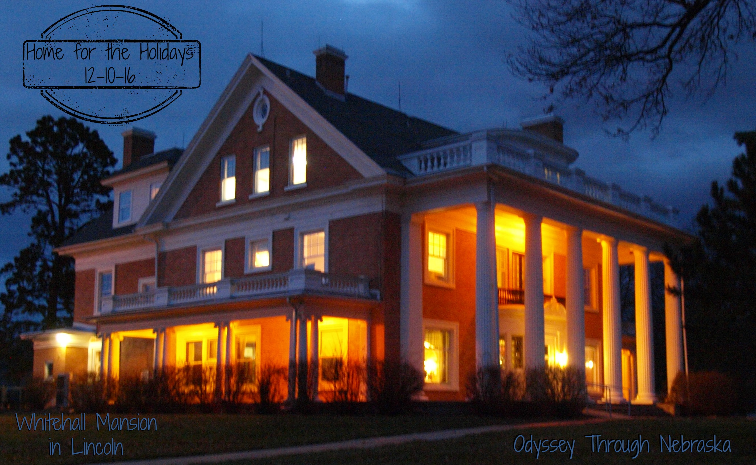 Whitehall Mansion in Lincoln at nighttime